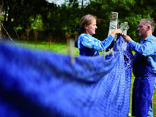 Blueprint - resist block printing and indigo dyeing in Burgenland